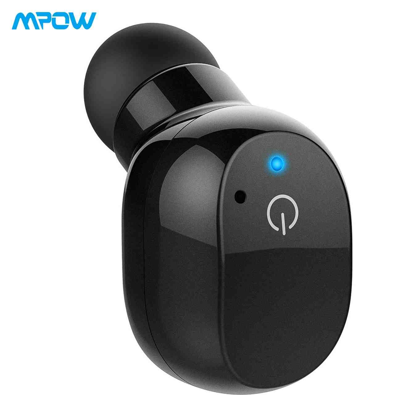 Mpow EM12 Bluetooth Earpiece, 6-Hr Playtime Touch Control Wireless Headphones, V4.2 Bluetooth Headset with Noise Reduction Microphone, Mini Bluetooth Earbud for Cell Phone (One Pcs, Two Chargers)