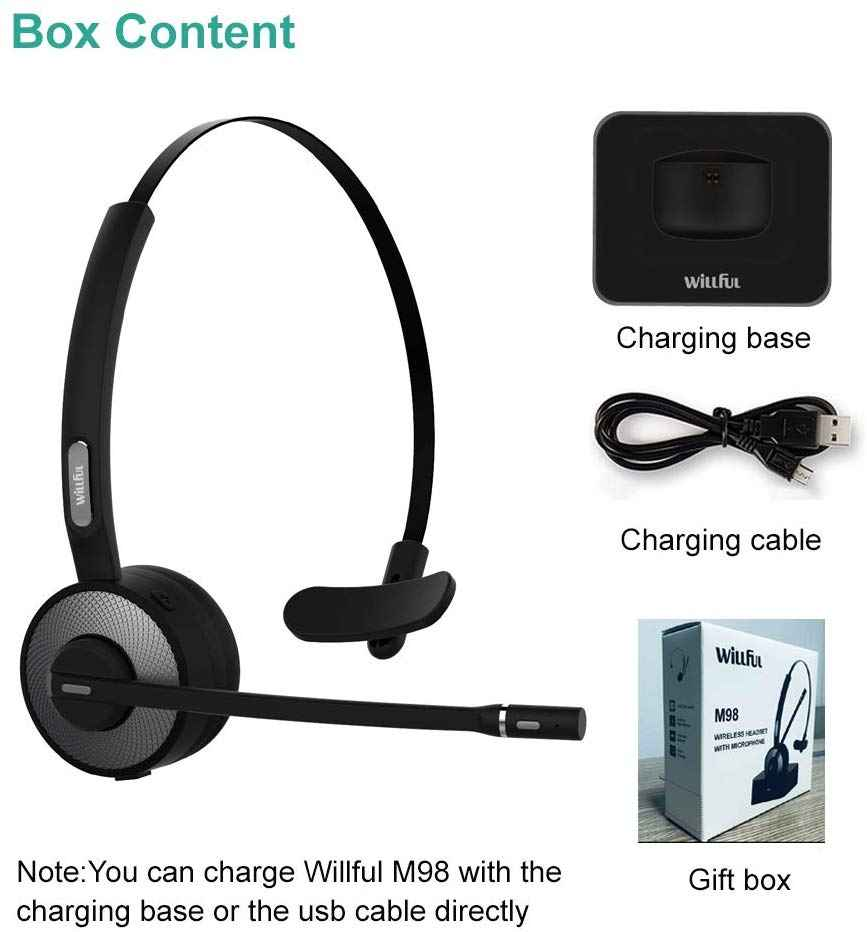 Mpow bluetooth Headset, Truck Driver Headset with Charging Stand Dock, Wireless Over Head Earpiece with Noise Reduction Mic for Phones, Skype, Call Center, Office